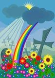 Cimitero con i fiori variopinti e un arcobaleno illustrazione vettoriale