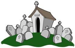 Cimitero con la tomba illustrazione di stock
