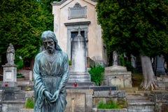 Cimitero con una statua triste dell'uomo sulla priorità alta Fotografia Stock Libera da Diritti