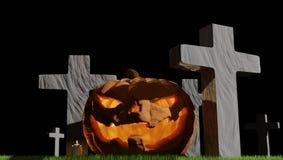 Cimitero 3d-illustration di Halloween della zucca Fotografia Stock