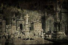 Cimitero del grunge di Halloween Immagini Stock Libere da Diritti