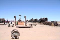 Cimitero del treno nel deserto di Uyuni, Bolivia Fotografia Stock