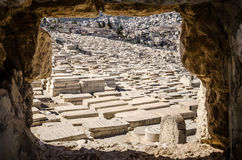 Cimitero di Gerusalemme sul monte degli Ulivi Fotografia Stock Libera da Diritti