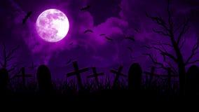 Cimitero di Halloween in cielo porpora royalty illustrazione gratis