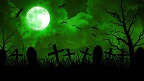 Cimitero di Halloween in cielo verde illustrazione vettoriale