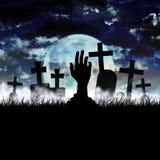 Cimitero di Halloween dello zombie Fotografie Stock Libere da Diritti