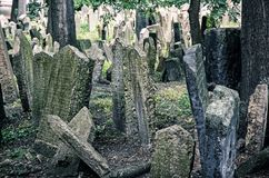 Cimitero ebreo a Praga, repubblica Ceca, filtro blu Immagine Stock Libera da Diritti