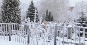 Cimitero innevato video d archivio