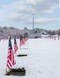 Cimitero innevato del veterano Immagine Stock