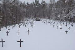 Cimitero militare, cimitero di guerra, inverno del cimitero di guerra, inverno militare del cimitero, neve di inverno dei soldati Immagine Stock