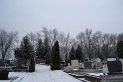 Cimitero nell'orario invernale Immagini Stock