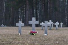Cimitero senza fine in Polonia Fotografie Stock