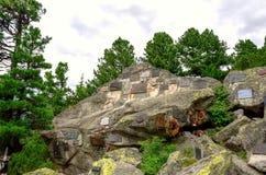 Cimitero simbolico sotto Ostrva in alte montagne di Tatra, Slovacchia Fotografie Stock