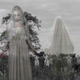 Cimitero spaventoso con il fantasma Fotografie Stock