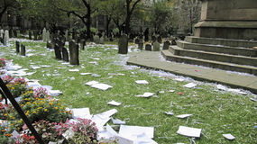 Cimitero sudicio dopo la parata delle yankee immagini stock