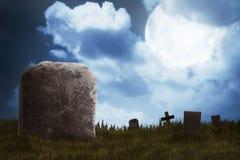 Cimitero sulla notte spaventosa Fotografie Stock Libere da Diritti