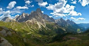 Cimon della Pala, Dolomites - Italy. Panoramic view of the Pale di San Martino, Dolomites royalty free stock image