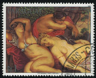 Cimon and Iphigenia by Rubens. RUSSIA KALININGRAD, 19 APRIL 2017: stamp printed by Paraguay, shows Painting Cimon and Iphigenia by Rubens, circa 1985 stock photos