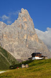 Cimone peak in Dolomites mountains, northern Italy. Cimon della Pala or Cimone (The Matterhorn of Dolomites) is the best-known peak of the Pale di San Martino Stock Image