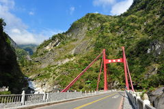Cimu bridge in Taroko National Park Stock Photography