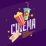Cinéma coloré d'affiche avec le maïs éclaté, un billet et une soude Photographie stock