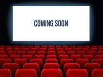 Cinéma Hall Film intérieur avec venir bientôt texte sur l'écran blanc et les sièges rouges vides Fond de vecteur de salle de ciné illustration stock