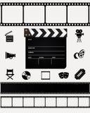 Cinéma, icônes de film sur le fond blanc Images stock