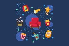 Cinéma ou décor de film, scène, industrie cinématographique, illustration de vecteur de concept de cinématographie sur un fond bl Photos libres de droits