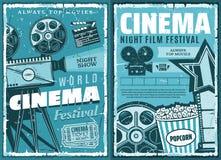 Cinématographie, rétro festival de film de cinéma illustration libre de droits