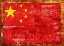 Cina old painted flag Stock Image