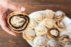 Cinamon and clocolate sweet cake Stock Photos