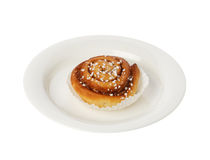 Cinamon roll on a plate Royalty Free Stock Photography