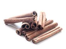 Cinnamon sticks. Close up of Cinnamon sticks on a white background royalty free stock photo