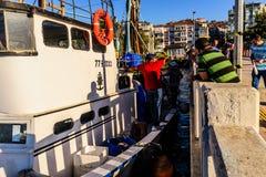 Cinarcik镇的渔夫 库存照片