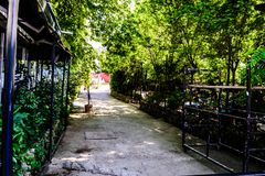 Cinarcik镇-土耳其平凡的人和街道  免版税库存图片