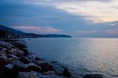 Cinarcik Grodzka linia horyzontu Po zmierzchu - Turcja Zdjęcia Stock