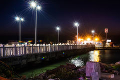 Cinarcik Town Ferry Port At Night Royalty Free Stock Photography