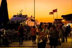 Cinarcik Town Ferry Port At Sundown Stock Image