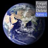 Cincept salva il mondo immagine stock