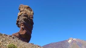 The Cinchado rock and the Teide volcano in Tenerife stock video footage