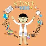 Ciência para miúdos Cientista dos desenhos animados, coleção de Fotos de Stock Royalty Free