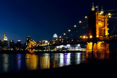Cincinatti Night Skyline Stock Photo