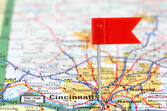 Cincinnati. Ohio. Red flag pin in an old map showing travel destination royalty free stock images