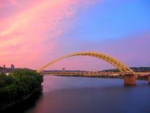 Cincinnati Bridge. I471 Bridge over the Ohio River in Cincinnati during a dramatic sunset Royalty Free Stock Images