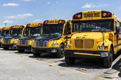 Cincinnati - Circa May 2017: Yellow School Buses in a District Lot Waiting to Depart for Students II. Yellow School Buses in a District Lot Waiting to Depart for stock image