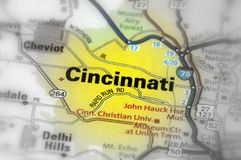 Cincinnati, Ohia - United States U.S. Cincinnati, a city in the U.S. state of Ohio black and white selective focus Royalty Free Stock Photography