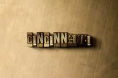 CINCINNATI - close-up of grungy vintage typeset word on metal backdrop Royalty Free Stock Photography