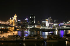 Cincinnati Downtown by night. Downtown view at the river, nice reflection in the water Royalty Free Stock Image
