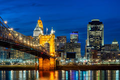 Cincinnati horisont, Roebling bro, Ohio Royaltyfri Bild