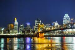Cincinnati i stadens centrum överblick Fotografering för Bildbyråer